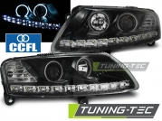 Передние фары Audi A6 C6 angel eyes led black