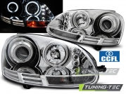 Передние фары VW Golf 5 angel eyes ccfl chrome