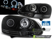 Передние фары VW Golf 5 angel eyes ccfl black
