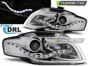 Передние фары Audi A4 B7 daylight chrome drl