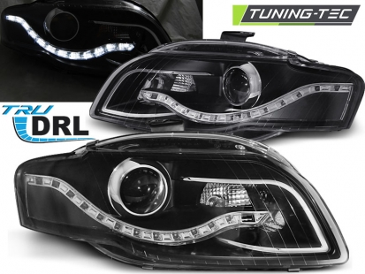 Передние фары Audi A4 B7 daylight black drl