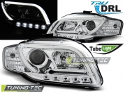 Передние фары Audi A4 B7 led tube lights chrome tru drl
