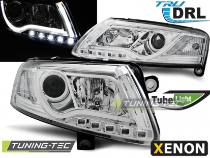 Передние фары Audi A6 C6 xenon tube lights tru drl chrome