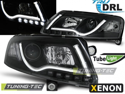 Передние фары Audi A6 C6 xenon tube lights tru drl black