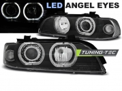 Передние фары Bmw 5 E39 angel eyes led black