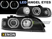 Передние фары Bmw 5 E39 angel eyes led D2S/H7 black
