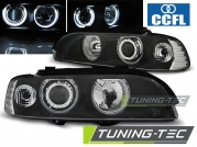 Передние фары Bmw 5 E39 angel eyes black ccfl