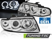 Передние фары Audi A4 B5 angel eyes chrome ccfl