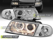 Передние фары Audi A4 B5 angel eyes chrome