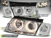 Передние фары VW Passat B5 angel eyes chrome