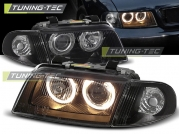 Передние фары Audi A4 B5 angel eyes black