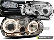 Передние фары VW Golf 4 angel eyes chrome