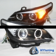 Передние фары Bmw 5 E60/E61 black led indicator