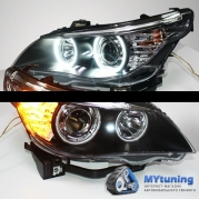 Передние фары Bmw 5 E60/E61 angel eyes ccfl black