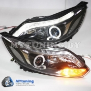 Передние фары Ford Focus 3 angel eyes led black