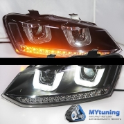 Передние фары VW Polo angel eyes U style LF type