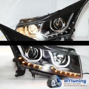 Передние фары Chevrolet Cruze tube light black