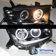 Передние фары Mitsubishi Pajero Sport angel eyes black