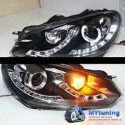 Передние фары VW Golf 6 daylight black dual drl