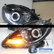 Передние фары Nissan Sunny angel eyes black