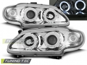 Передние фары Renault Megane 1/Scenic 1 angel eyes chrome