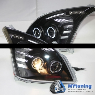 Передние фары Toyota Land Cruiser Prado 120 angel eyes black