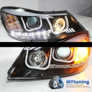 Передние фары Skoda Octavia 2 tube light black