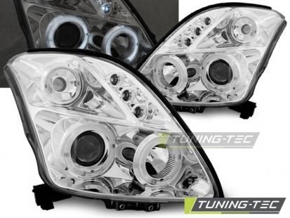Передние фары Suzuki Swift 3 angel eyes chrome