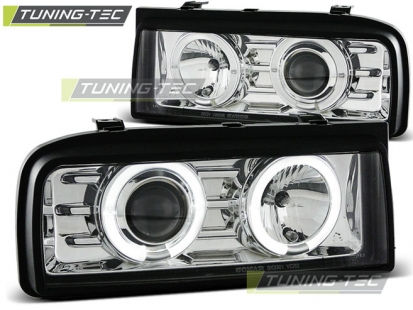 Передние фары VW Corrado angel eyes chrome
