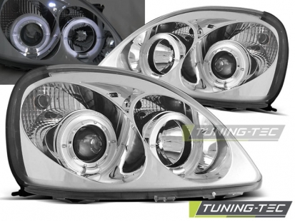 Передние фары Toyota Yaris angel eyes chrome