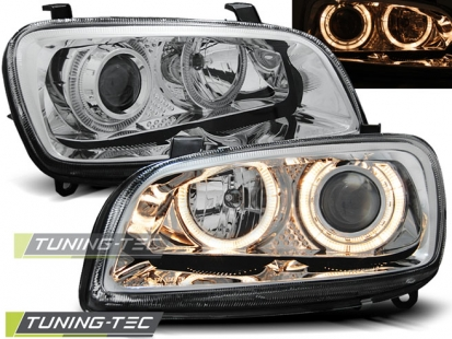 Передние фары Toyota Rav 4 angel eyes chrome