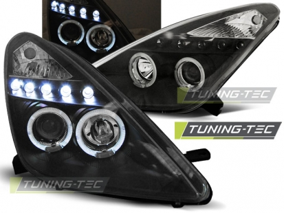Передние фары Toyota Celica T23 angel eyes black