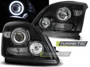 Передние фары Toyota Land Cruiser Prado 120 angel eyes ccfl black