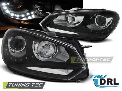 Передние фары VW Golf 6 daylight tru drl black