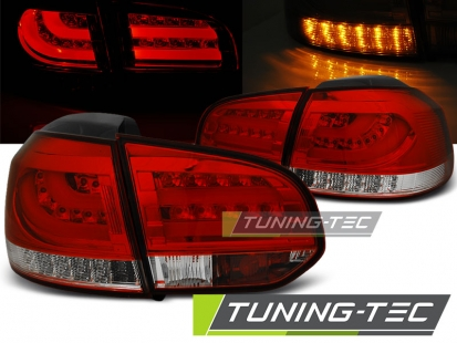 Задние фонари VW Golf 6 red white led bar