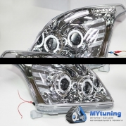 Передние фары Toyota Land Cruiser Prado 120 angel eyes chrome